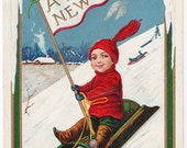 Signed Bernhardt Wall - Antique New Year Postcard - New Year Postcards, Bernhardt Wall, Children, Boys, Sleds, Sledding, Paper, Ephemera