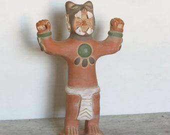 Folk Art Cat Man in Power Pose, Latin American Art, Vintage Terra Cotta Sculpture, Shaman Figure, Indigenous Art, Handmade Figurine