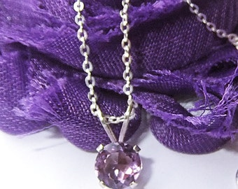 Amethyst Necklace, Sterling Silver Necklace, Amethyst Gemstone, February Birthstone, Amethyst Jewelry, Layering Necklace, Delicate