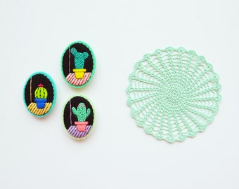 Cactus Brooch / Felt Cactus Pin / Felt Succulent / Succulent Brooch / Cute Cactus Felt Brooch / Illustrated Cactus Felt Pin / Bold Cactus