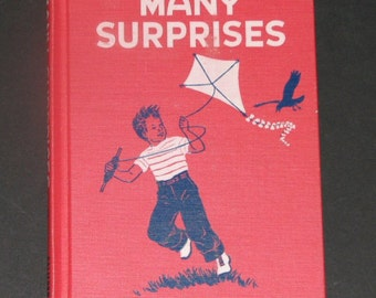 1954 Many Surprises - Basic Reading Primer - Billy Jane and Ann - red kite cover