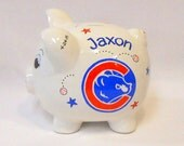 Piggy Bank Chicago Cubs Baseball Personalized