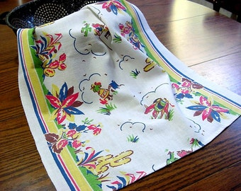 Vintage Kitchen Dish Towel -Southwestern Mexican Cacti Donkey Senorita - Red Yellow Blue Green -Cotton Linen Collectible Tea Towel