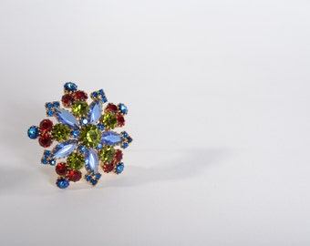 Vintage 1960s Blue Rhinestone Brooch - Snowflake Red Green Pin - Holiday Fashions