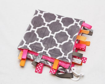 Baby Ribbon Tag Blanket - Minky Binky Blankie - Grey and White Geometric with Fuschia