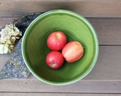 Large Ceramic Mixing Serving Fruit Bowl in Dark Spearmint Green Porcelain for the Home, Handmade Artisan Pottery by Licia Lucas Pfadt