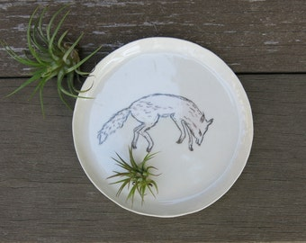 Ceramic Woodland Fox Hand Drawn Fine Art Plate One of a Kind Gift Idea Home Decor Wildlife, Handmade Artisan Pottery by Licia Lucas Pfadt