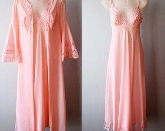 Vintage Pink Peignoir Set, Peignoir Set, 1970s Peignoir Set, Pink Peignoir Set, Wedding, Bridal, Peignoirs, Nightgown Peignoir Set
