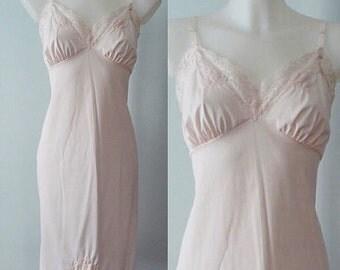 Vintage Slip, Vintage Slips, Vintage Lingerie, 1960s Slips, 1960s Slip, 1960s Lingerie, 1960s Van Raalte, Pink Full Slip Size 36