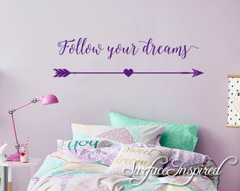 Wall Decal Quote Kids Wall Decal Follow your dreams Quote Wall Decal For Boys and Girls Vinyl Lettering Decals Stickers