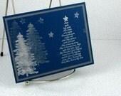 Christmas Card Handmade Silent Night Hymn Silver Xmas Trees on Navy Blue Background Holiday Card Merry Christmas Elegant Peace Hope Love