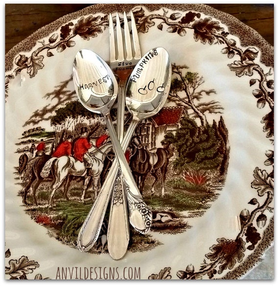 Thanksgiving Tableware, Vintage Silverware Spoons & Fork, Pumpkins, Give Thanks, Harvest, Hand Stamped, Buffet Catering, Hostess Gift, Prop