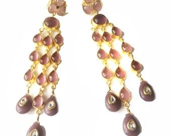 Kundan Chandelier Earrings-Purple Chandelier Earrings-Modern Indian Jewellery,Contemporary Earrings,Minimalistic Jewelry by Taneesi