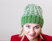 Green on Grey Unisex Hand Knit Beanie Hat