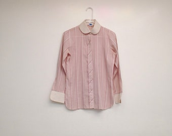 Vintage 1960s Pale Rose Striped Peter Pan Collar Button Down Blouse