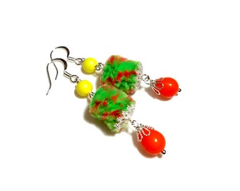 Cute Artsy Fuzzy Neon Dangle Earrings, Summer Earrings, Fiber Art Jewelry
