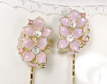OOAK Dusty Blush Pink Bridal Hair Pins Pair, Vintage Wedding Rhinestone Gold Flower Bobby Pins Set 2 Hair Clips Bridesmaid Jewelry Gift
