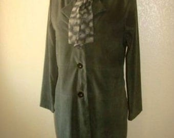 2 PC Tank Dress + Coat Knee Length Jacket Petite 6 Olive Green Faux Suede Attached Scarf 90's Career