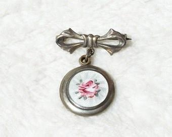 Guilloche Enamel Brooch Locket Sterling Silver Slider Bow Pin Rose Flower