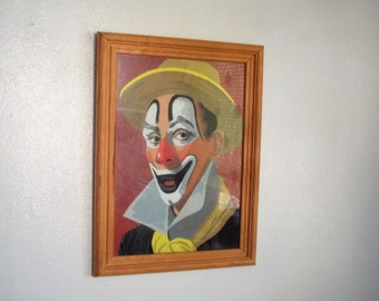 Vintage 18 x 12 Framed Dandy Clown Paint by Number Painting under Glass