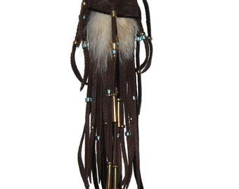 Badger fur neck pouch leather medicine bag pow wow mountain man totem boho hippie