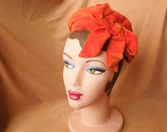 Vintage 50's Orange Velvet Hat, Adorable Mini-Beret Topper with Giant Floppy Bow,  Rockabilly, Mid Century