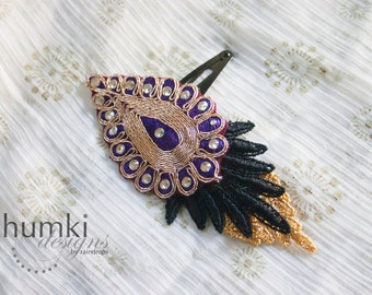 Patra - 1 Bollywood Applique and Venetian Lace HAIR CLIP by jhumki designs by raindrops