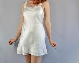 Cream Silk Nightgown, Lace Babydoll, Vintage 90s, vlv, Boudoir, Lingerie, Pinup, Wedding Night, Flapper, Size Medium, FREE SHIPPING