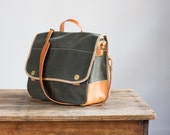 Field Bag in Olive Waxed Twill & Horween Leather