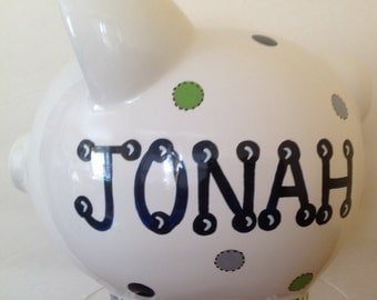 Personalized Large Piggy Bank Navy/Green/Gray Polka Dots - Newborns ,Boys, Girls, Baby Shower Gift Centerpieces