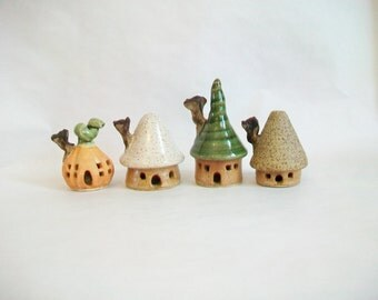 Fairy Houses - Set of 4  Small, Sweet Houses -  Each One is Handmade, Wheel Thrown - Actual Set - Ready to Ship
