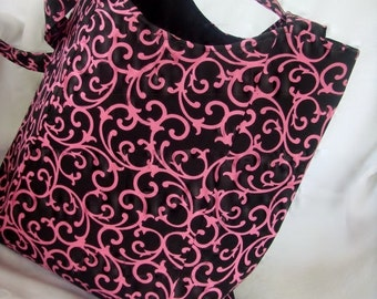 Stylish Shoulder Bag Black Canvas with Hot Pink Swirls / Front pocket READY TO SHIP