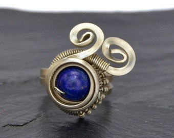 Steampunk Ring, Blue Lapis Ring, Silver Ring, Wire Wrapped Ring, Lapis Lazuli Ring, Blue Stone Ring, Gemstone Ring, Lapis Jewelry
