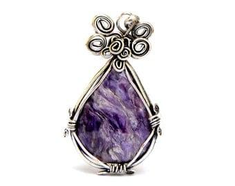Purple Pendant, Wire Wraped Pendant, Silver Pendant, Pendant Necklace, Gemstone Pendant, Chaorite Pendant, Stone Pendant, Boho Necklace