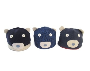 Cate and Levi Handmade Polar Bear Winter Hat (Premium Reclaimed Wool and Eco-Friendly Fleece)