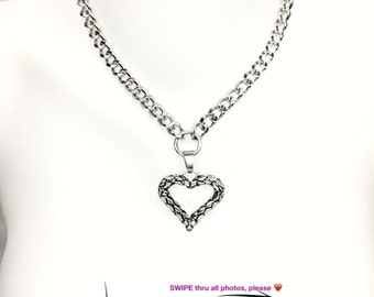 BDSM Day Collar 316L High Quality Stainless Steel ROPED HEART Charm & Stainless Steel Chain Discreet Choker Padlock Closure or Lobster Clasp