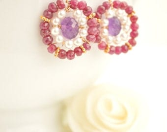 Suzani Inspired Ruby, Amethyst, Pearl & Gold Earrings