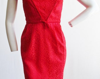 """1960s Cherry Red Lace Wiggle Dress with Satin Piping 24"""" Waist"""