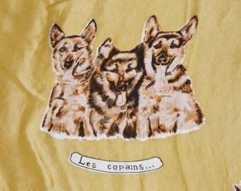 Vintage 40s 50s Silk Square Dog Print Scarf / Gold & Brown German Shepard Scarf