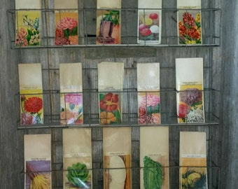 Antique Vintage French SEED PACKET Wall DISPLAY Holder with 60 Vintage French Seed Packets included