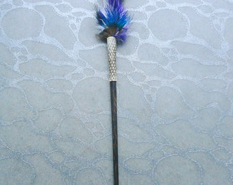 Hair Stick - Feathers n Cobra Snakeskin (recycled) on Rosewood wood Hairstick Boho Chic Accessory Black Purple White Red Blue Green Brown