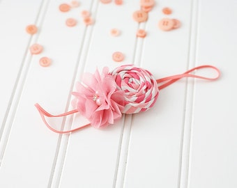 April - coral pink white rosette and chiffon flower headband