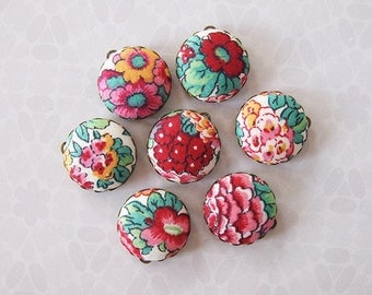 Liberty Fabric Charms 20mm Pink Red Floral set of 7 Charms DIY Earrings, Necklace, DIY Jewelry, Bridesmaid (set 2a)