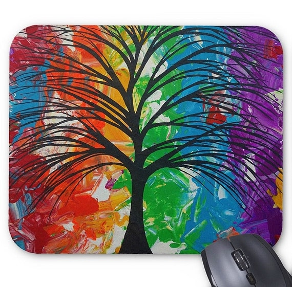Mousepad Mouse Pad Fine Art Painting 'Colorful Life' Rainbow Tree Multi Colored Colors Surreal Palette Knife Amber Lamoreaux Original