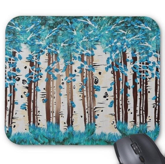 Mousepad Mouse Pad Fine Art Painting Turquoise Forest Fine Art Painting Birch Aspen Tree Trees Blue Teal Brown Palette Knife Modern Impasto