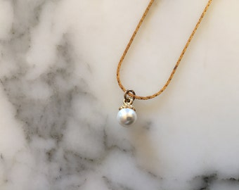 Faux Pearl Necklace . Gold Tone Simple Chain . Vintage Costume Jewelry