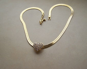 Gold Rhinestone Heart Slide on Serpentine Chain Necklace