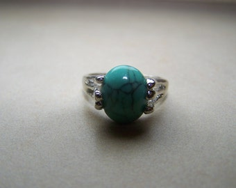 Silver Turquoise Stone Ring choose Size