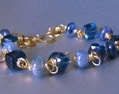18k Gold Sapphire Bracelet, 18k Gold Blue Topaz Bracelet, 18K Solid Gold London Blue Topaz and Sapphire Bracelet