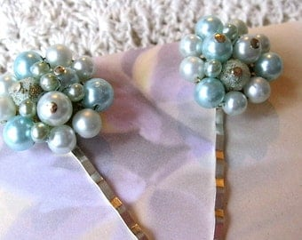 Baby blue beaded vintage earring bobby pins, vintage jewelry hair pins, robin egg blue bobby pins, bride / bridesmaid hair pins, prom